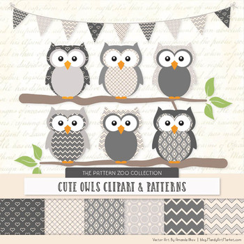 Woodland grey baby owl clipart clip art free download Pattern Zoo Vector Owls Clipart & Digital Papers in Grey clip art free download