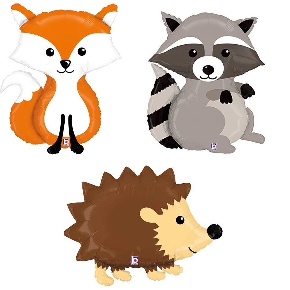 Woodland hedgehog clipart vector black and white Woodland Raccoon Fox Hedgehog Mylar Balloon Bundle vector black and white