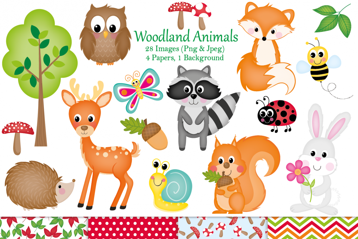 Woodland theme clipart banner transparent Woodland clipart, Woodland animal graphics & Illustrations banner transparent