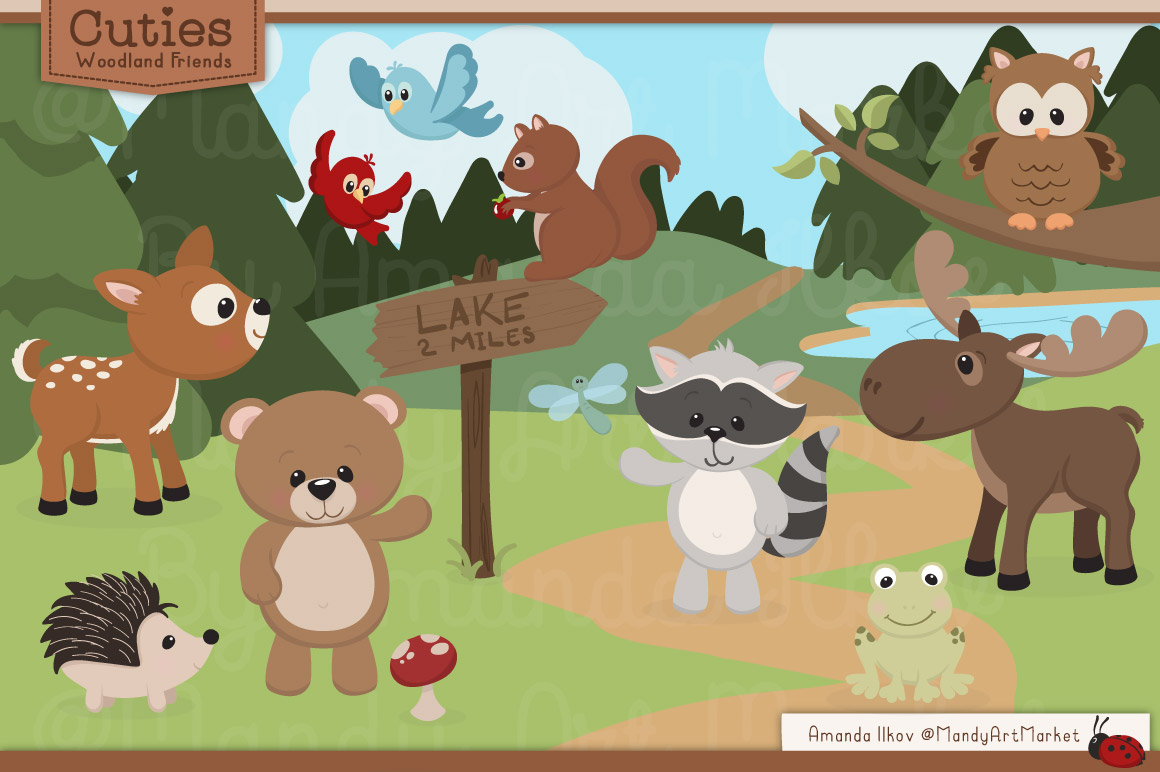 Woodland scenery clipart picture transparent library Cute Woodland Creatures Clipart (100+ images in Collection ... picture transparent library