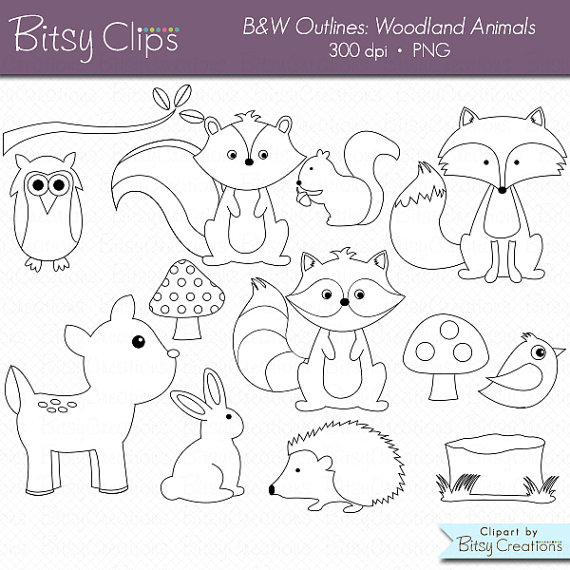 Woodland skunk animals clipart svg black and white library Woodland Animals OUTLINE Digital Art Set Clipart Commercial ... svg black and white library