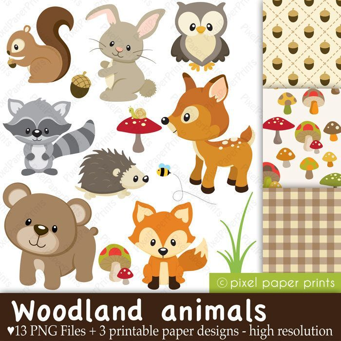Woodland theme clipart graphic black and white Free download Baby Woodland Animals Clipart for your ... graphic black and white