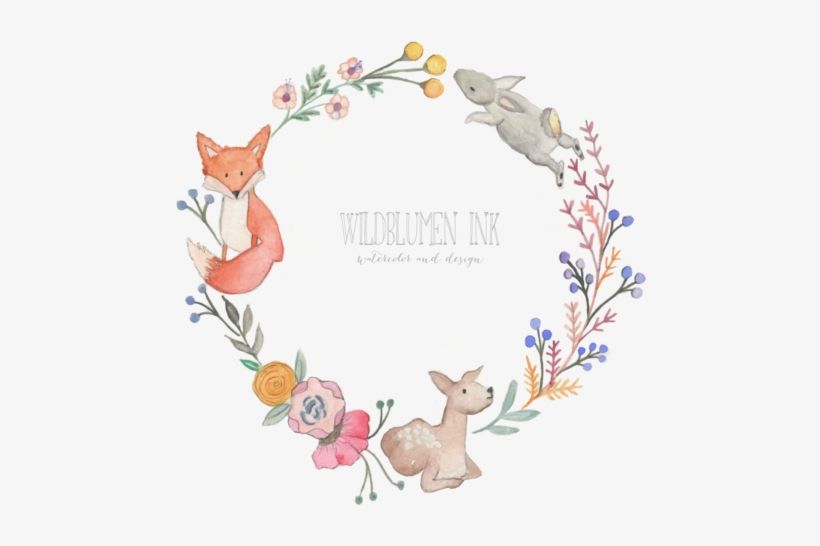 Woodland themed baby shower clipart image library download Nursery Art Wildblumen Ink Baby Shower Wreathpng - Baby ... image library download