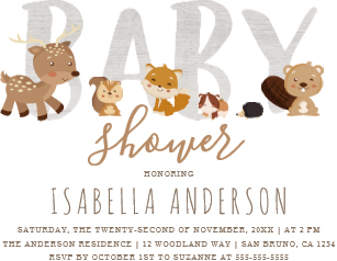 Woodland themed baby shower clipart png black and white stock Woodland Baby Shower Invitations | Zazzle png black and white stock