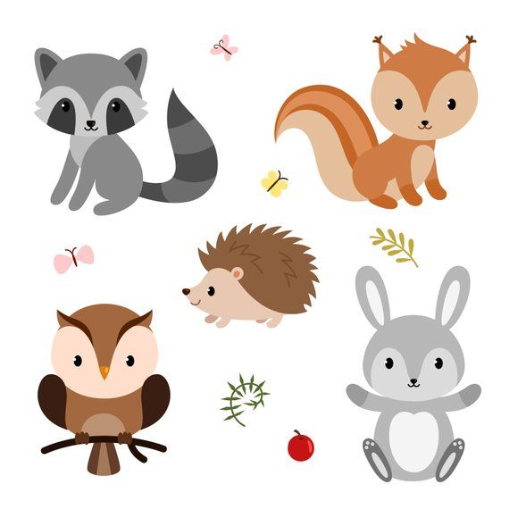 Woodland themed baby shower clipart jpg royalty free library Cute forest animals. Baby shower clipart. Digital clipart ... jpg royalty free library