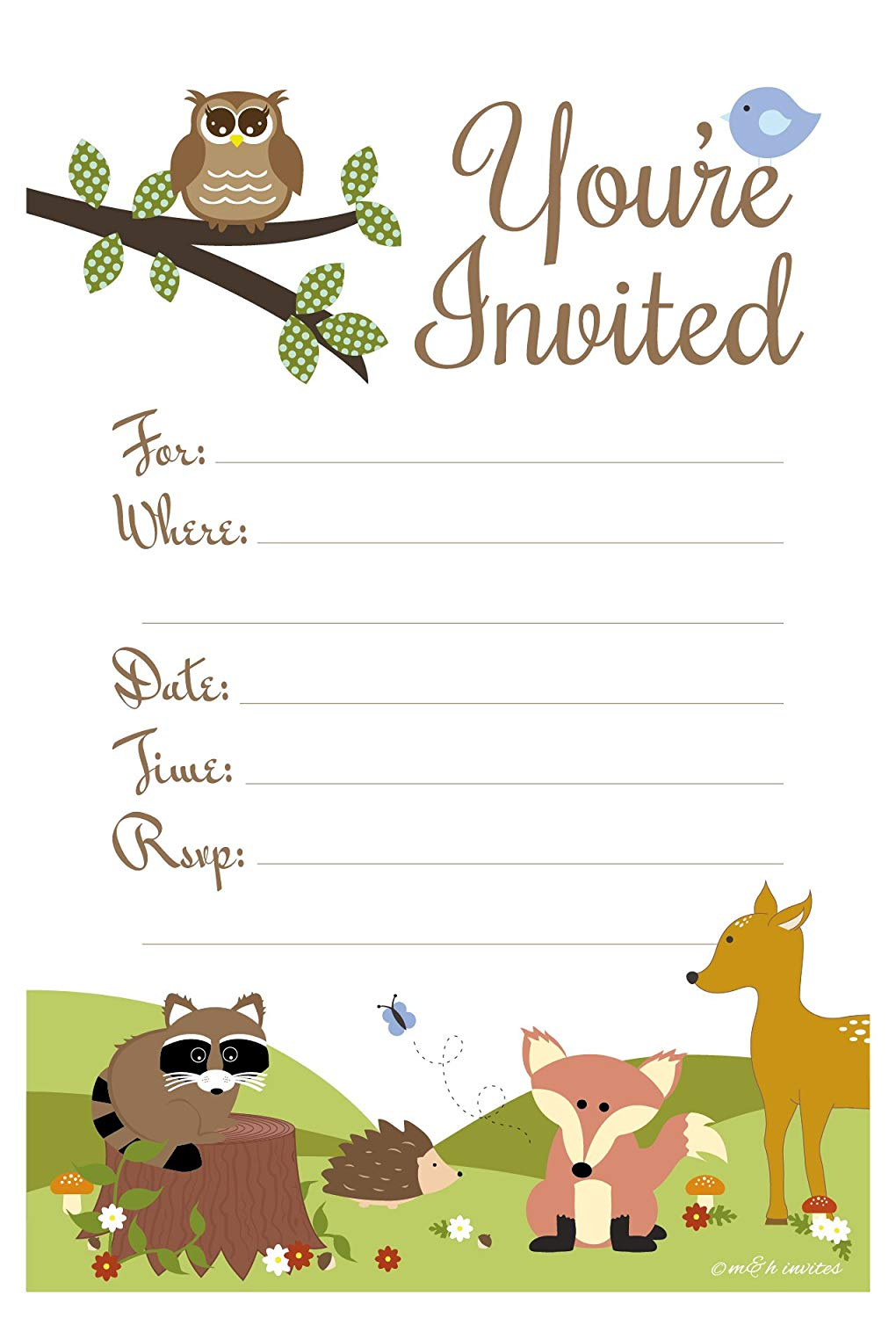 Woodland themed baby shower clipart clip art black and white Woodland Animals Baby Shower or Birthday Invitations - Fill In Style (20  Count) With Envelopes clip art black and white