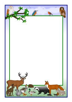 Woodland themed border clipart jpg stock British wildlife A4 page borders (SB7852) - SparkleBox ... jpg stock