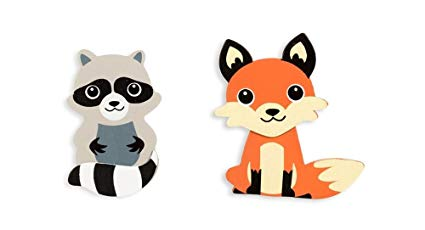 Woodlnd raccoon clipart image black and white Darice Natural Wood Painted Woodland Creatures Cutouts - Fox and Raccoon image black and white