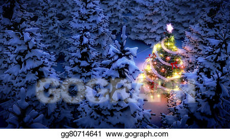 Woods with snow clipart drawing png free Drawing - Lightened christmas tree in pine woods. Clipart ... png free