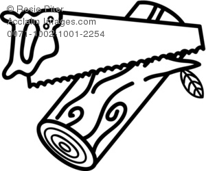 Woodsaw clipart svg free Clipart Illustration of a Handsaw and a Log svg free
