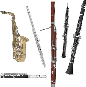 Woodwind instruments clipart picture library stock Musical Instrument Clipart in Color and B&W picture library stock