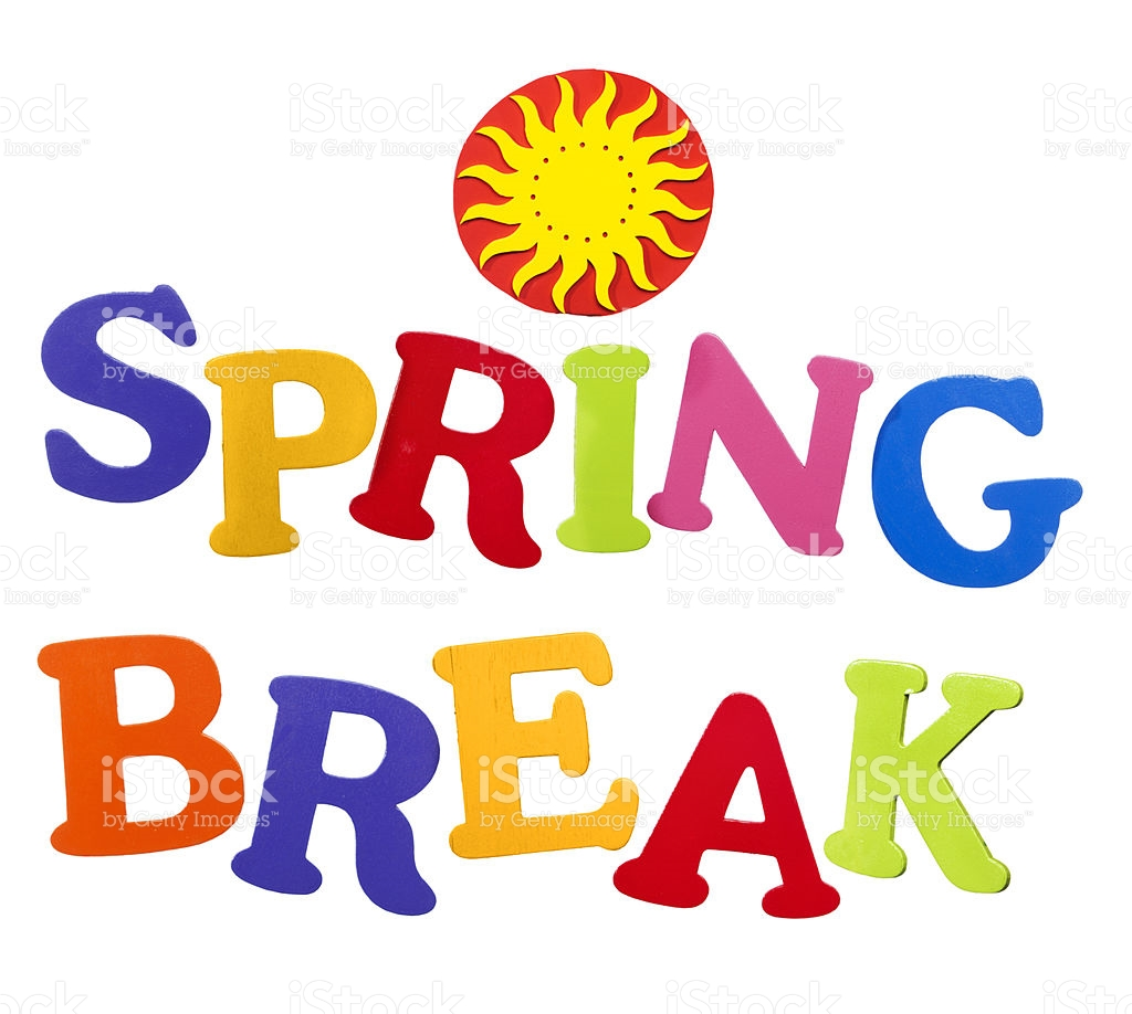 Word break clipart image free stock Sun icon words spring break in tropical colors on white ... image free stock