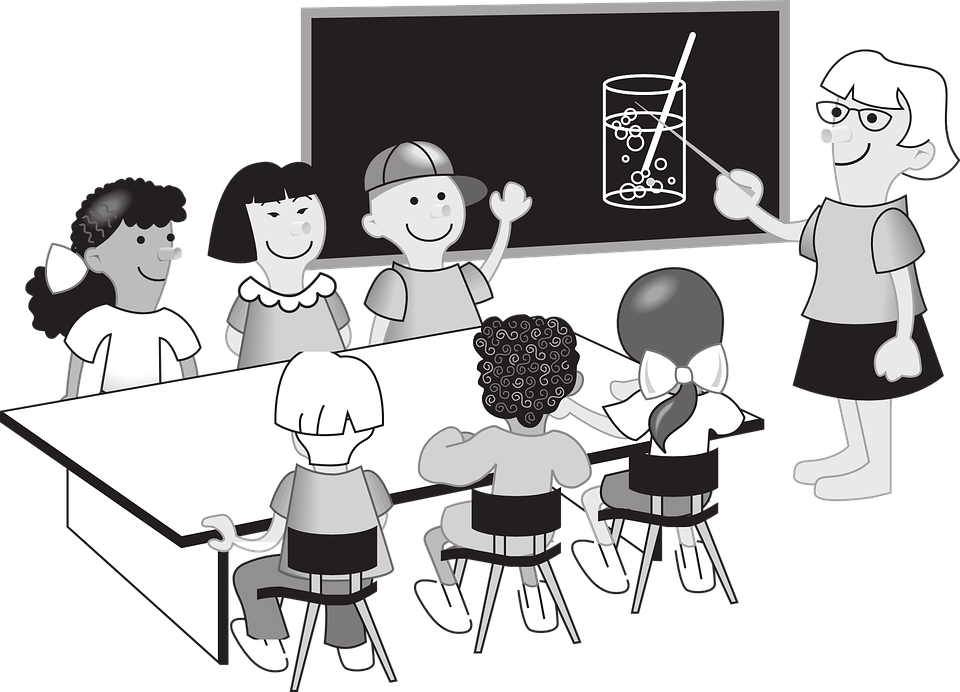 Students listening to teacher clipart black and white clip Child Working In Class Clipart Black And #345029 - PNG ... clip