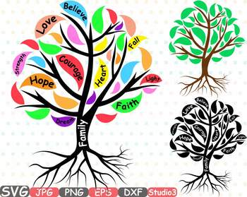 Word clipart courage picture free library Family Tree Silhouette clipart courage faith hope love strength believe 751s picture free library