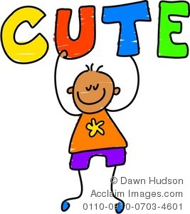 Word clipart cute png free Clipart Illustration of a Happy Little Boy Holding the Word Cute png free