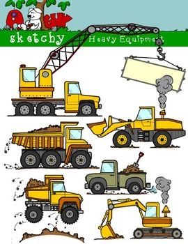 Word construction clipart jpg download Construction Heavy Equipment Themed Clipart Color, BW, Black ... jpg download