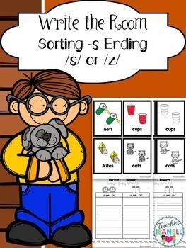 Word ends in f l s or z clipart png freeuse stock Plural -s Sound Sort Write the Room | TPT K-2 Literacy ... png freeuse stock