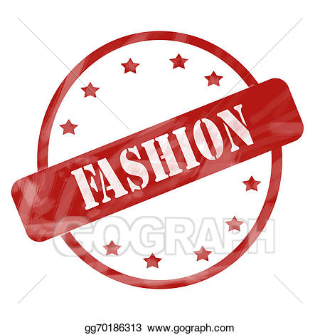 Word fashion clipart jpg black and white Stock Illustration - Red weathered fashion stamp circle and ... jpg black and white