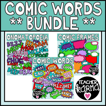 Word frames teachers clipart banner royalty free stock Comic Words Clipart BUNDLE, Onomatopoeia banner royalty free stock