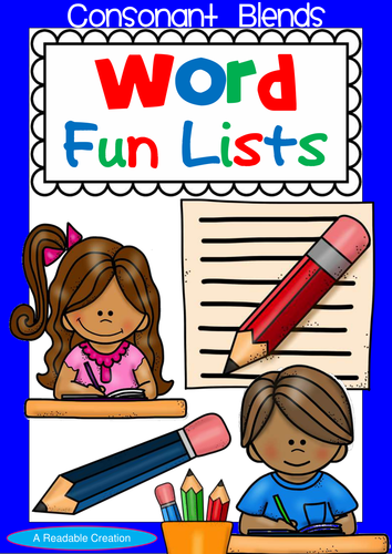 Word list pencil clipart image royalty free stock Consonant Blends – Word Fun Lists for Year 2 image royalty free stock