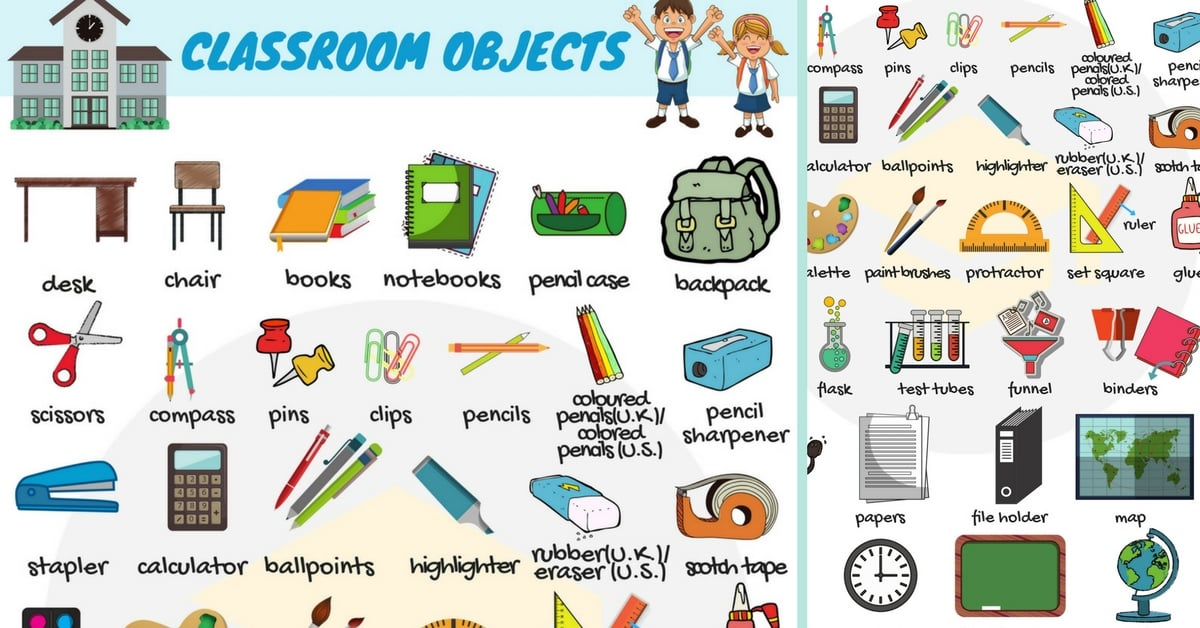 School objects clipart frame clip art download Classroom Objects in English | Classroom Vocabulary - 7 E S L clip art download