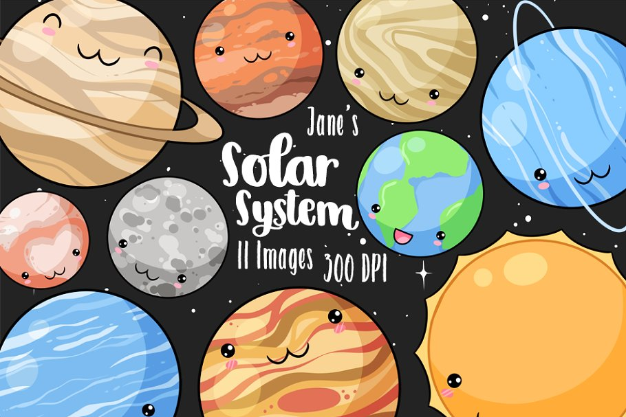 Plnets clipart clipart library library Kawaii Planets Clipart clipart library library