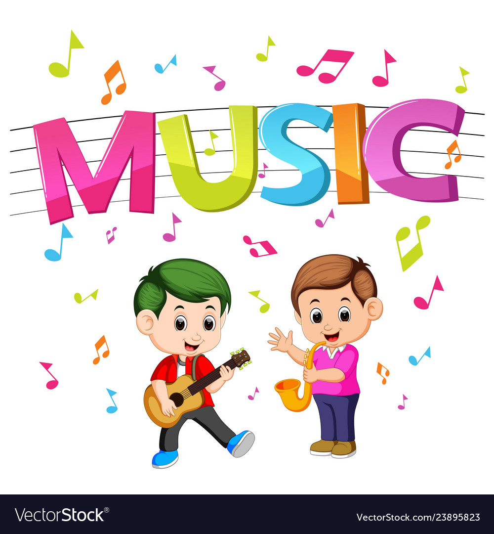 Word music clipart colored clipart Word music with kids playing guitar and saxophone clipart
