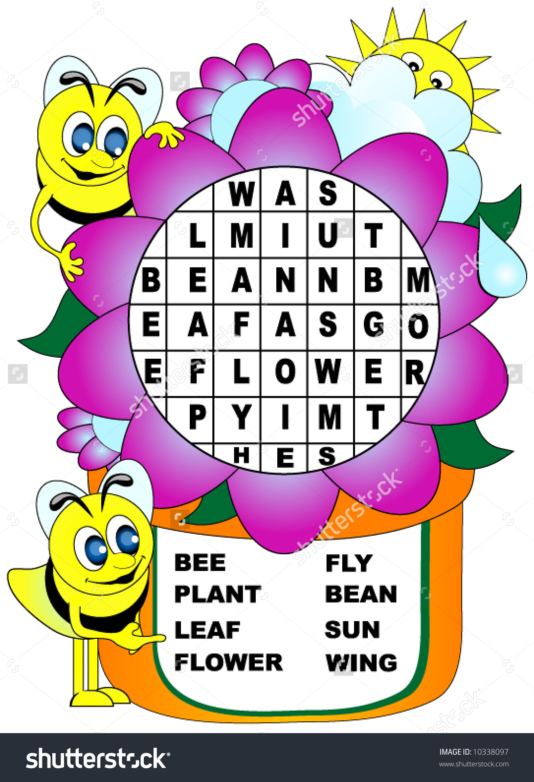 Word search clip art vector free Childrens Word Search Bees Flower Theme Stock Vector 10338097 ... vector free