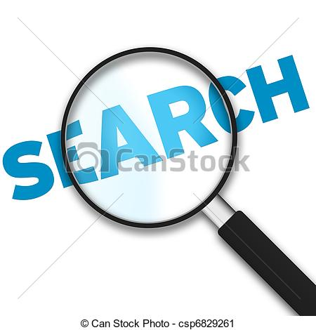 Word search clipart image black and white Clipart of Search - Magnifying Glass on Words - A magnifying glass ... image black and white