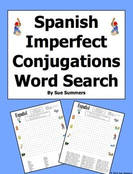 Word search clipart graphic transparent stock Spanish Imperfect Tense Word Search Puzzle and Image IDs | Spanish ... graphic transparent stock