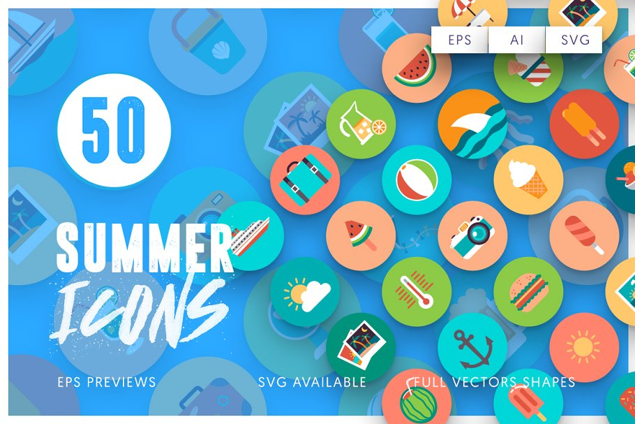 Word summer flavors time clipart clip freeuse 50 Summer Icons ~ Icons ~ Creative Market clip freeuse