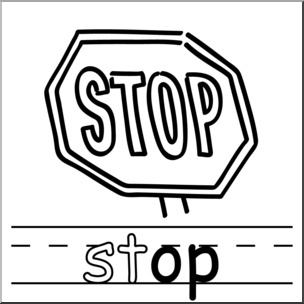 Words clipart stop clipart stock Clip Art: Basic Words: -op Phonics: Stop B&W I abcteach.com ... clipart stock
