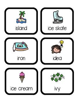 Words that begin with long i clipart