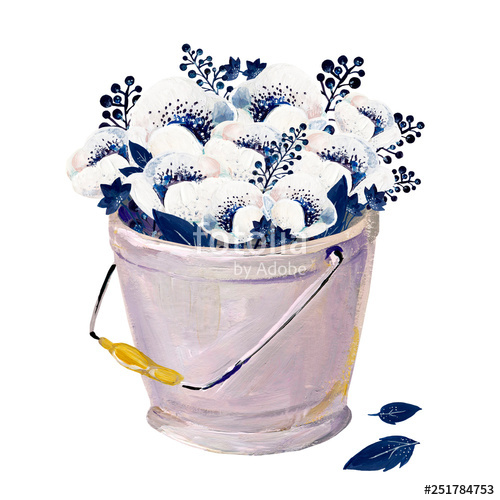 Work bucket clipart banner transparent Gouache white anemones in a pail. Hand-drawn clipart for art ... banner transparent