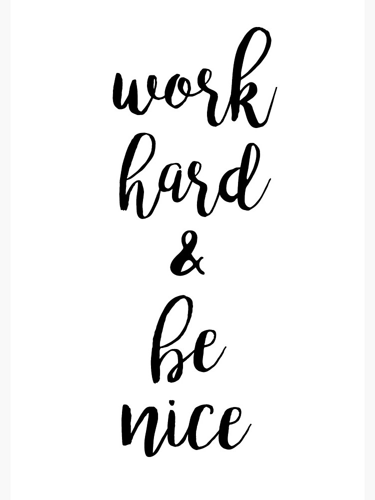 Work hard and be nice to people clipart picture black and white stock Work Hard and Be Nice to People Quote | Spiral Notebook picture black and white stock