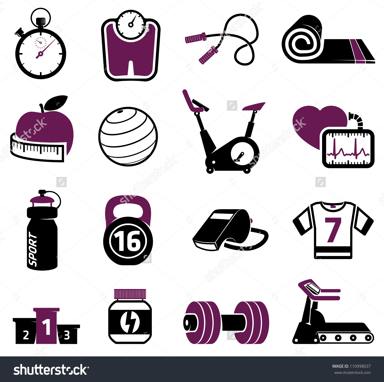 Work out equipment clipart clipart stock Fitness Equipment Collection Stock Vector 110998037 - Shutterstock clipart stock
