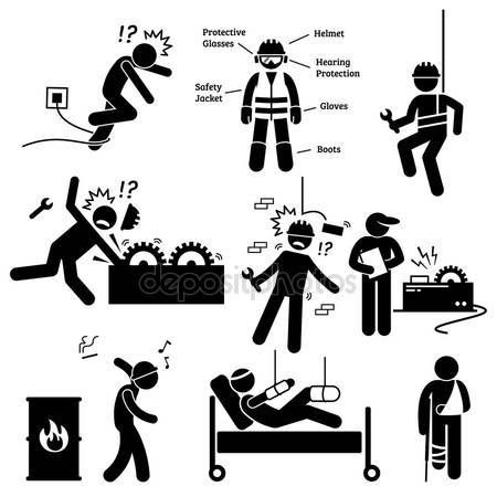 Worker failer clipart png transparent stock Human pictogram and icons depicting occupational safety and ... png transparent stock