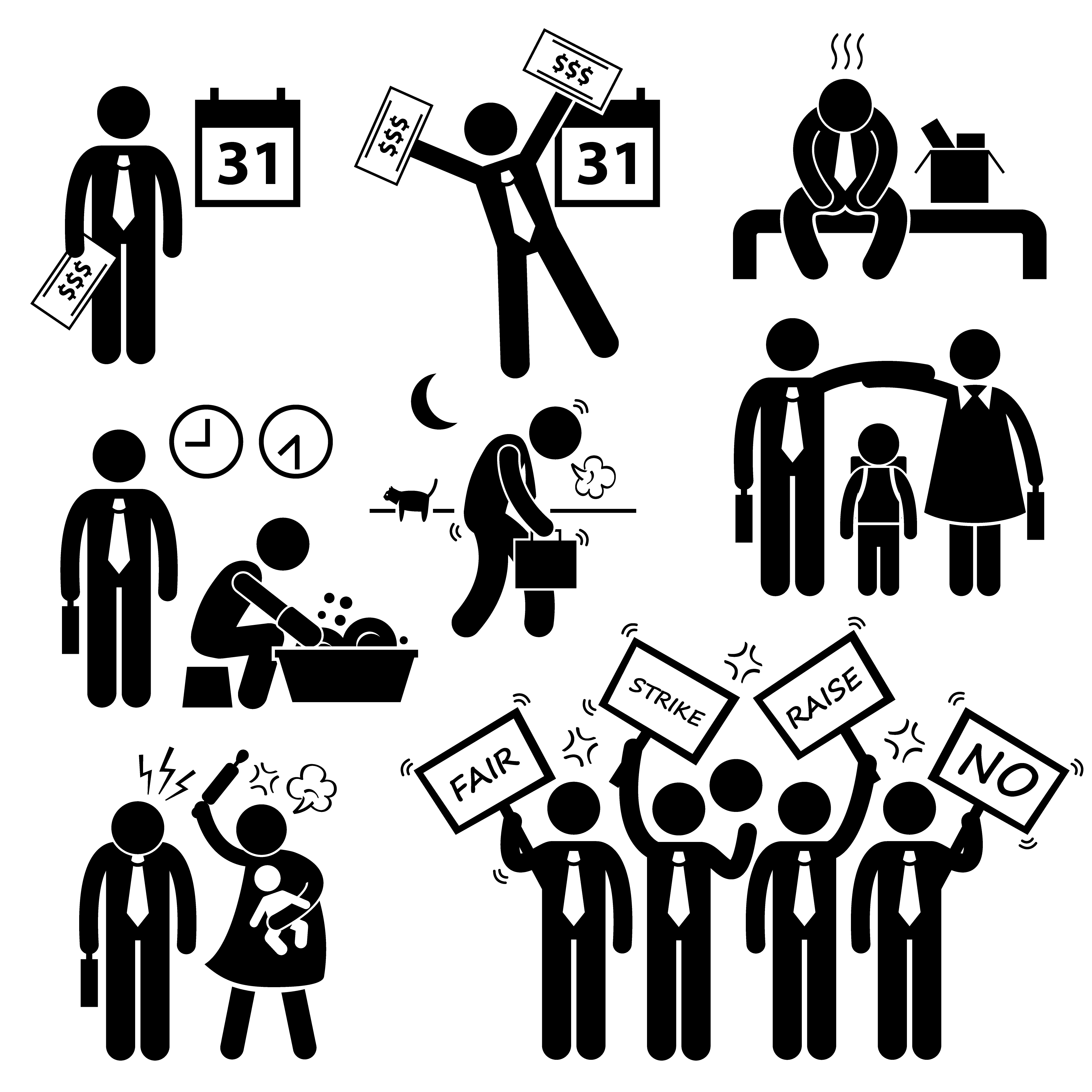 Worker failer clipart clip download Worker Employee Income Salary Financial Problem Stick Figure ... clip download