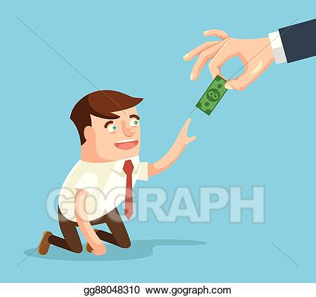 Worker payment clipart transparent EPS Illustration - Boss giving small salary to worker ... transparent