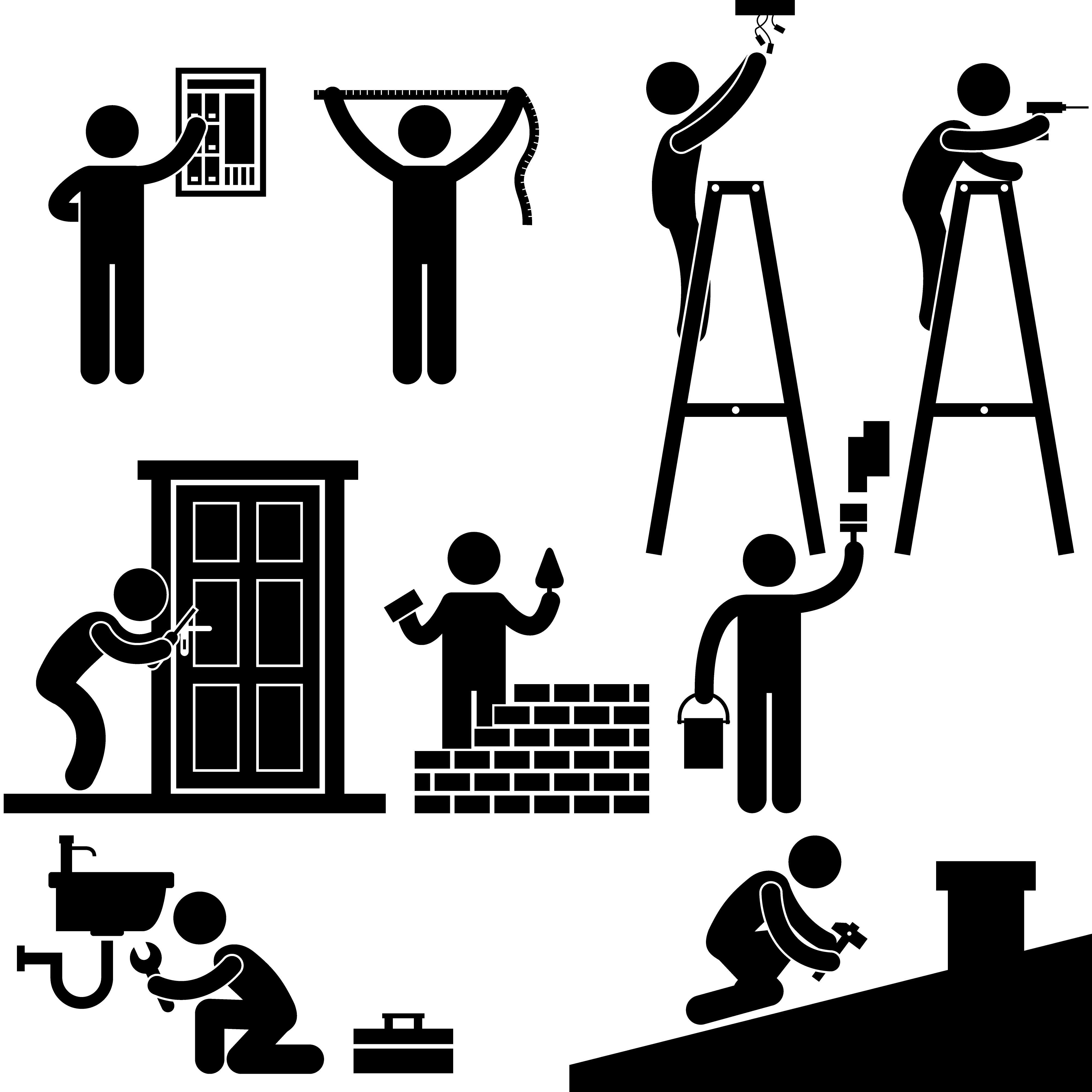 Working on roof clipart vector free library Handyman Electrician Locksmith Contractor Working Fixing ... vector free library