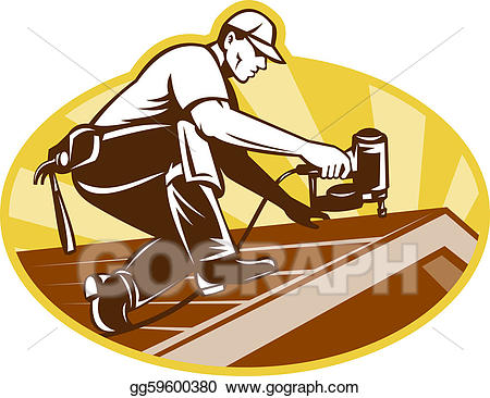 Working on roof clipart jpg free download Stock Illustrations - Roofer roofing worker working on roof ... jpg free download