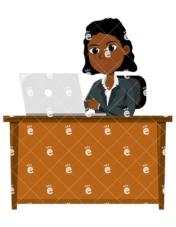 Working professional clipart free A Black Female Professional Using A Laptop At Work | Clipart ... free