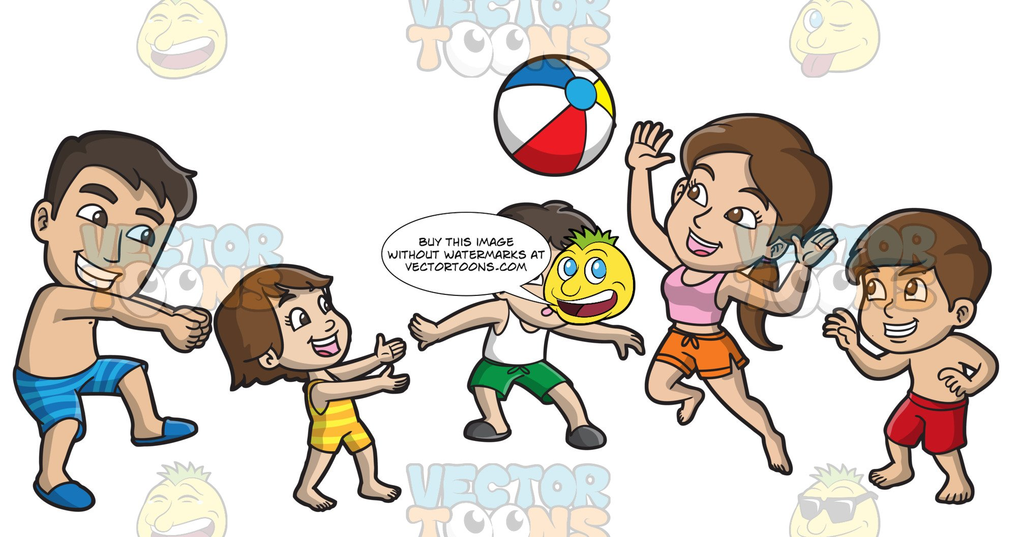 Working together happy family clipart banner free stock A Happy Family Playing With A Beach Ball banner free stock