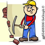 Wall demolition clipart jpg library Workman Clip Art - Royalty Free - GoGraph jpg library
