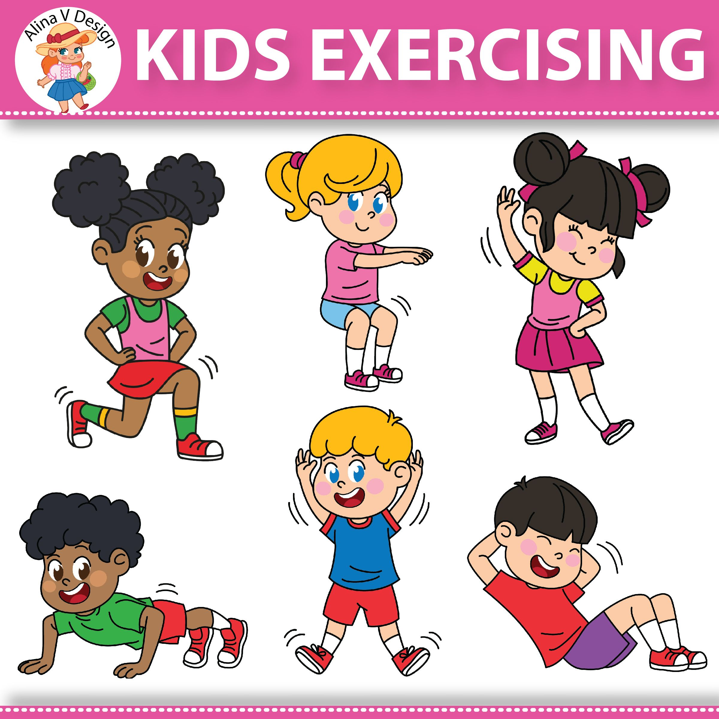 Kids exercise clipart picture black and white Kids Exercising Exercises Workout | Clipart & Photos ... picture black and white