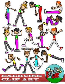 Workout clipart set picture freeuse library Exercise / Workout Clip art - Set 1 picture freeuse library