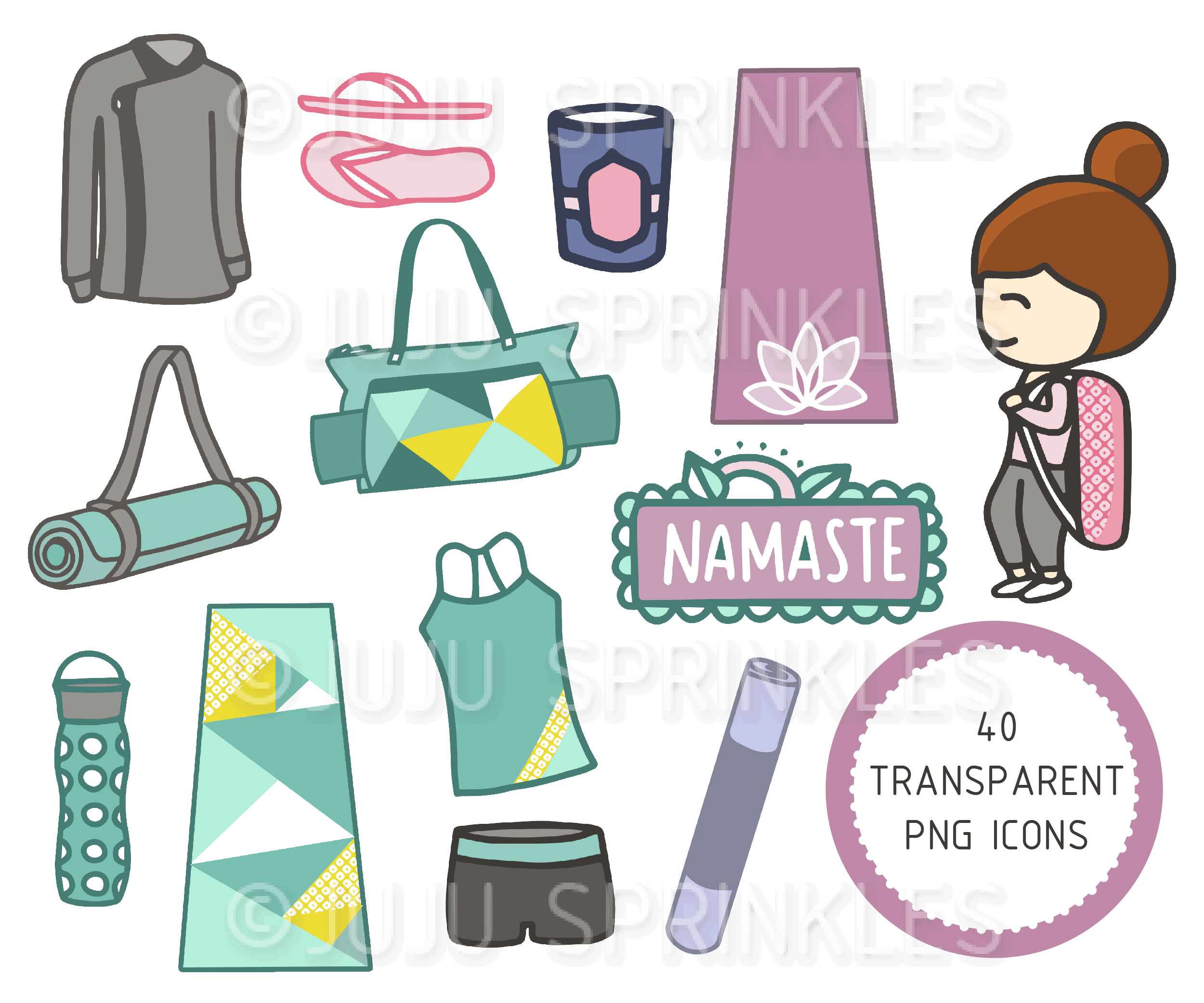 Workout clipart set clipart freeuse stock Yoga Workout Clipart and Sticker Set clipart freeuse stock