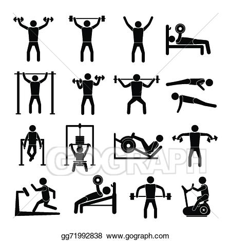 Workout clipart set clip freeuse library Vector Clipart - Workout training icons set. Vector ... clip freeuse library