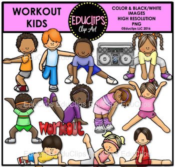 Workout kids clipart royalty free Workout Kids Clip Art Bundle {Educlips Clipart} royalty free