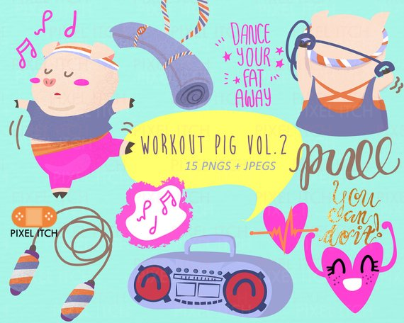 Workout monster clipart picture library download Workout Clip Art Vol. 2 : Pig Clipart, Women Health, Gym ... picture library download